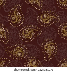 1950s Style Retro Daisy Paisley Seamless Vector Pattern. Folk Ethnic Flower Embroidery Motif. Hand Drawn Textile Prints for Trendy Fashion, Packaging, Scandi Clothing, Stationery. Vintage Brown Gold