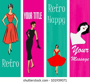 1950's Style Retro Message Vertical Banners with a stylish ladies