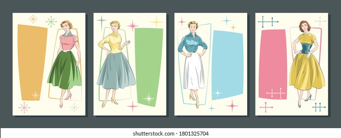 1950s Women Fashion Style Illustrations, Mid Century Modern Trends, Vintage Colors