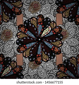 1950s-1960s motifs. White, black and brown on white, black, brown. Abstract seamless vector pattern with hand drawn floral elements. Silk scarf with blooming flowers. Retro textile design collection.