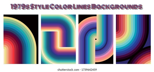 1960s, 1970s Color Lines Background Set, Bright Colors, Trendy Style