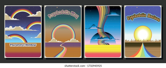 1960s, 1970s Style Poster Templates, Rainbows, Clouds, Landscapes, Perspective View