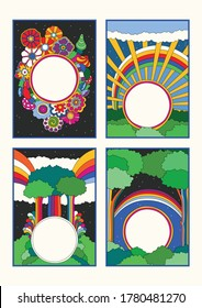 1960s Art Style Poster, Banner Templates, Nature, Flowers, Rainbows, Trees