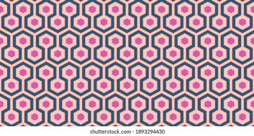 1960s Geometric Wallpaper   Groovy Pink, Blue and Orange Retro Pattern   Vintage 60s Mod Style   Seamless Hexagon Background   Repeating Sixties Print
