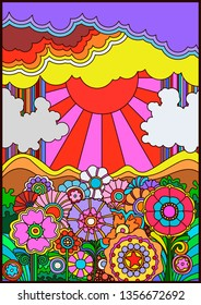 1960s Hippie Style Psychedelic Poster Vintage Colors Background. Fantastic Flowers, Sun and Clouds