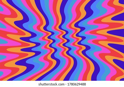 1960s Hippie Wallpaper Design. Trippy Retro Background for Psychedelic 60s-70s Parties with Bright Acid Rainbow Colors and Groovy Geometric Wavy Pattern in Pop Art style.