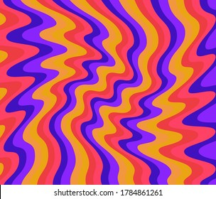 1960s Hippie Wallpaper Design. Trippy  Glitchy Background for Psychedelic 60s-70s Parties with Bright Acid Rainbow Colors and Groovy Geometric Wavy Pattern. Illustration with psychedelic trippy vibe.