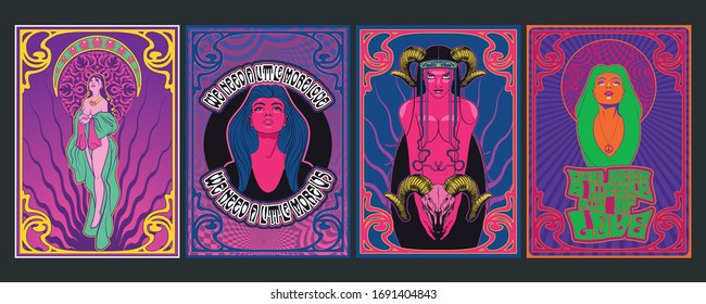1960s Posters Style, Sexual Women, Psychedelic Art Illustrations, Cover Templates