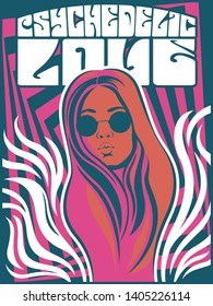 1960s Psychedelic Art Poster Hippie Girl Wavy Decorations, Vintage Psychedelic Colors