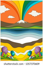 1960s Psychedelic Pattern, Poster, Cover Template Vintage Colors Landscape Hippie Lifestyle