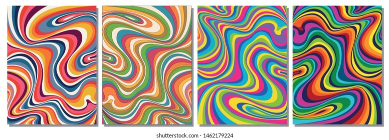 1960s Style Color Waves Backgrounds