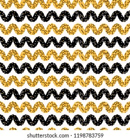 1960s Style Dot Stripes Seamless Vector Pattern. Hand Drawn Allover Horizontal Wave Line Illustration for Fashion Print, Gift Wrap, Trendy Packaging, Wallpaper or Retro Yellow Black Ric Rac Background
