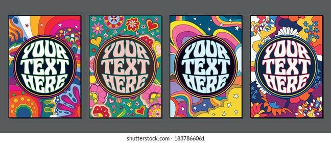 1960s Style Psychedelic Backgrounds, Floral Pattern Set
