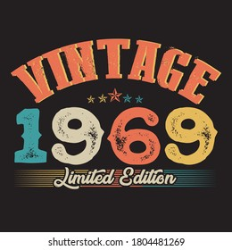 1969 Vintage Style T Shirt Design Stock Vector (Royalty Free ...