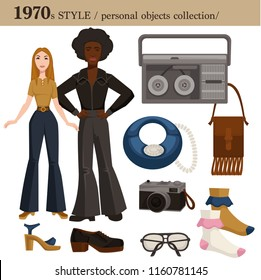 1970 fashion style man and woman personal objects