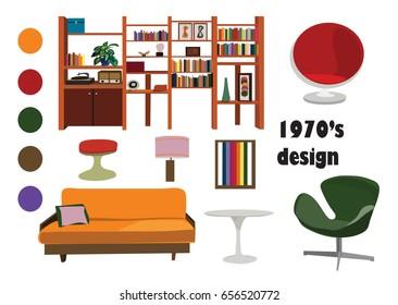 1970s 70s interior design vector elements. retro vintage furniture illustration. living room. Mood board of home decor. Unique Stylish interior.