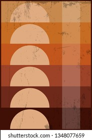 1970's Background, Cover, Pattern Template. Grunge Texture and Vintage Colors