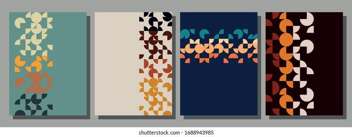 1970s Background Set, Vintage Colors, Geometric Pattern