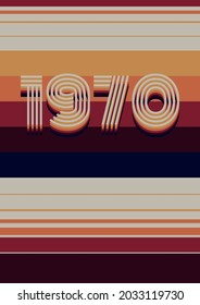 1970s Background, Vintage Color Stripes, Template for 70s Style Posters, Covers, Party Invitations