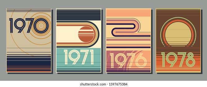 1970s Backgrounds, Abstract Shapes,  Vintage Color Lines
