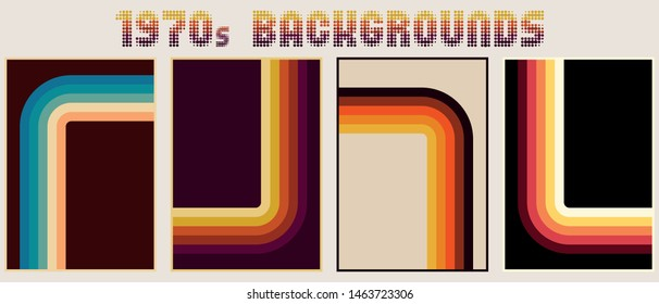 1970s Backgrounds, Patterns. Vintage Colors and Stripes, Vintage Banner Layouts