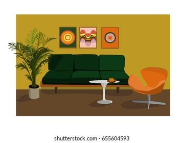 1970s furniture vector illustration. interior design. retro vintage living room. 80s