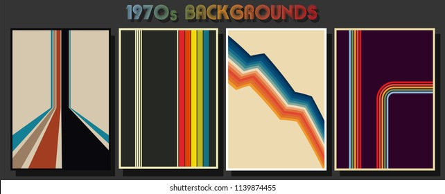 1970s geometric backgrounds and abstract backdrops set