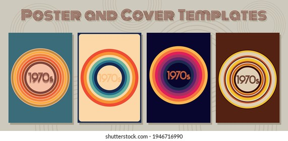 1970s Poster and Cover Templates, Vintage Color Combinations