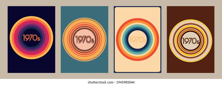 1970s Posters, Covers Template Set, Vintage Color Backgrounds