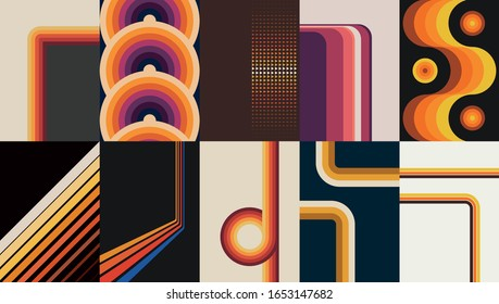 1970s Style Background Set, Vintage Colors and Shapes
