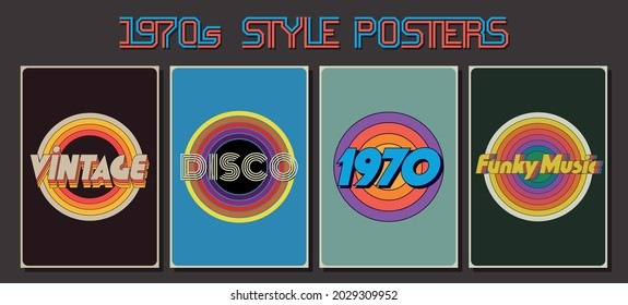 1970s Style Posters, Vintage Colors, Templates for Posters, Covers, Invitations