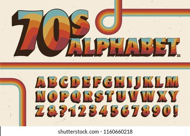 A 1970s-style alphabet with rainbow stripe embellishments