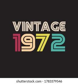 1972 vintage retro t shirt design vector black background