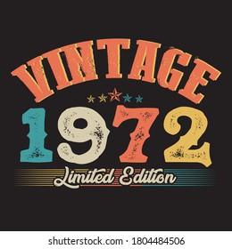 1972 vintage style t shirt design vector, black background