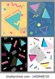1980s, 1990s Backgrounds, Trendy Colors and Shapes