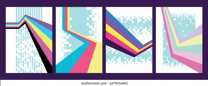 1980s Background Set, Trendy Neon Color Lines, Perspective Stripes, Pixel Patterns