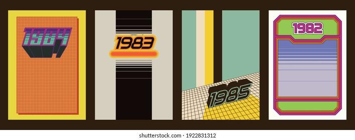 1980s Background Set, Vintage Color Lines, Perspective Grid, Geometric Shapes