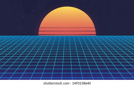 1980s Retro futuristic background. Retro sunset with laser grid. Cyberpunk, Synthwave, Vaporwave, Retrowave abstract banner. Vector illustration
