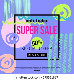 1980s Sale Banner Style. Vector eps 10 format.