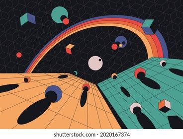 1980s Style Abstract Space Illustration, Perspective Grid, Geometric Shapes, Rainbow, Balls and Cubes