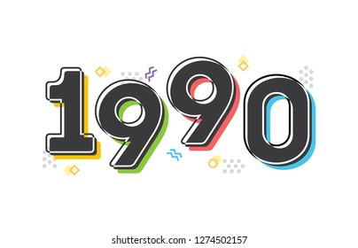 1990 Vector Text Illustration Background