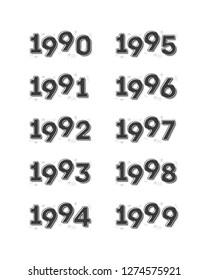 1990's Year Vector Text Retro Illustration