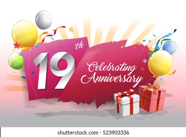 19th anniversary celebration with colorful confetti and balloon on blue background with shiny elements. design template for your birthday party.