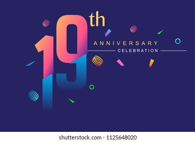 19th anniversary celebration with colorful design, modern style with ribbon and colorful confetti isolated on dark background, for birthday celebration