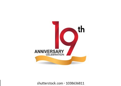 19th anniversary design logotype red color and golden ribbon for celebration isolated on white background