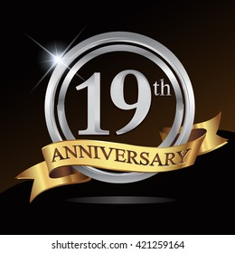 19th anniversary logo, with shiny silver ring and gold ribbon isolated on black background. vector design for birthday celebration.