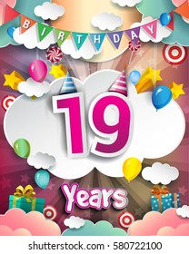 19th Birthday Celebration Greeting Card Design With Clouds And Balloons Vector Elements For The