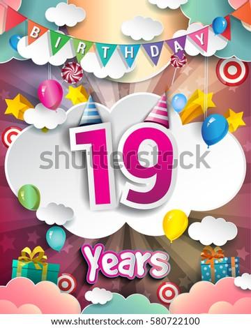 19th Birthday Celebration Greeting Card Design Stock Vector Royalty