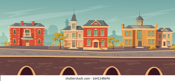 19th century town street with european colonial victorian style buildings and lake promenade. Vector cartoon illustration of city landscape with old vintage architecture. Retro cityscape river shore