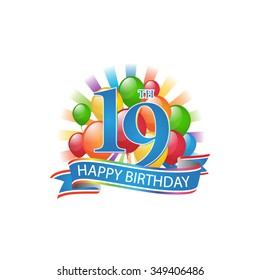 19th colorful happy birthday logo with balloons and burst of light